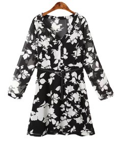 White Floral Print Belt Long Sleeve Dress - Black M