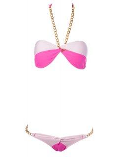 Color Block Chain Bikini Set - Plum S