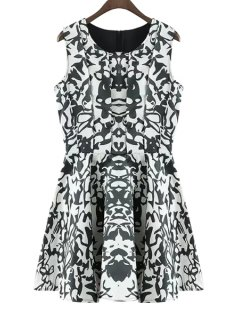 Abstract Print Jewel Neck Sundress - Green L