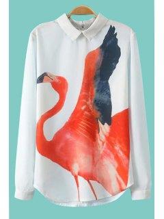 Crane Print Long Sleeve Shirt - White S