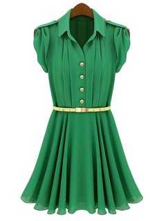 Solid Color Belt Pleated Short Sleeve Dress - Green M