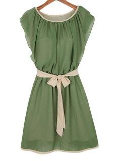 Ruffle Tie-Up Short Sleeve Dress - Army Green M