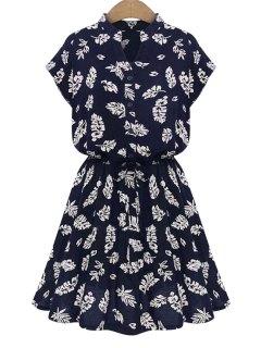 V-Neck Leaves Print Tie-Up Dress - Blue S