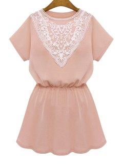 Lace Splicing Elastic Short Sleeve Dress - Pink Xl