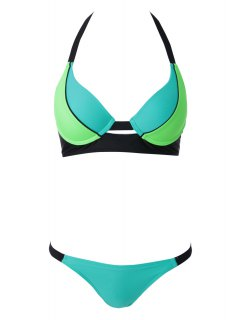 Halterneck Lace Splicing Bikini Set - Blue And Green L