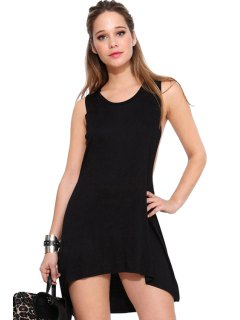 Backless Solid Color Asymmetrical Sleeveless Dress - Black L