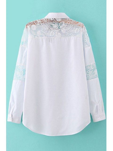 lady Solid Color Lace Splicing Shirt - WHITE M Mobile