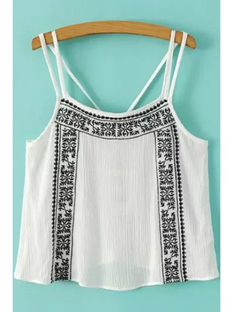 best Embroidery Ruffle Sleeveless Tank Top - WHITE AND BLACK L Mobile