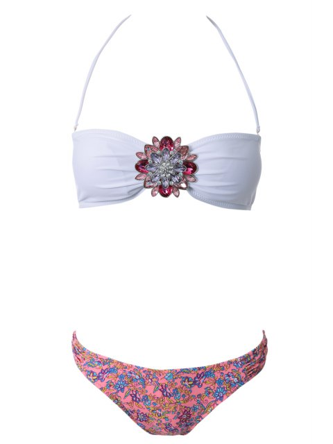 womens Strapless Floral Print Bikini Set - RED WITH WHITE L Mobile