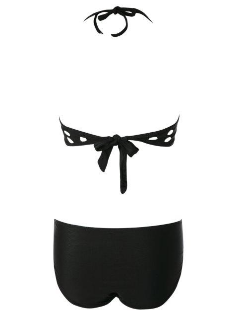 latest Black Halter Hollow Bikini Set - BLACK M Mobile