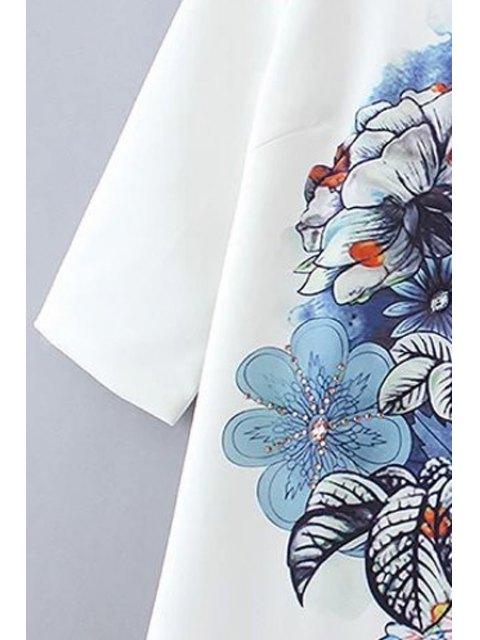 lady Floral Print Half Sleeves Shift Dress - WHITE M Mobile