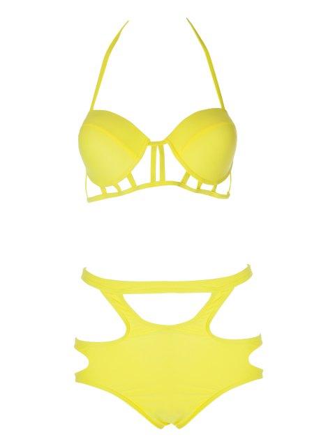 Bretelles spaghetti creux Bikini - Jaune XL Mobile