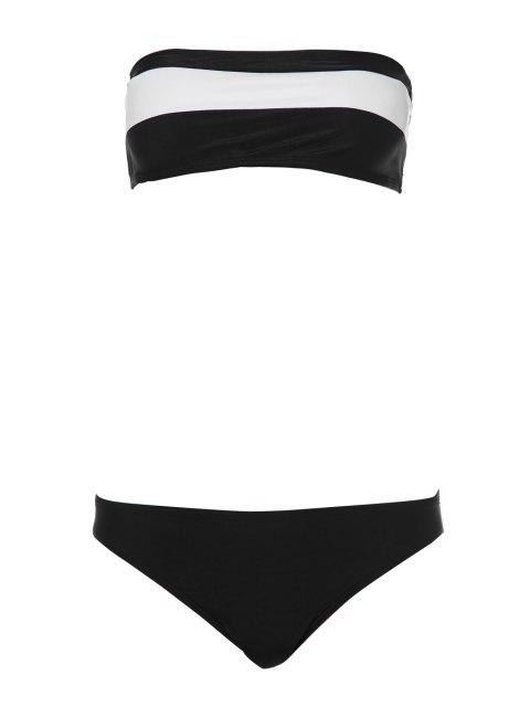 buy Color Block Stripe Bikini Set - WHITE AND BLACK M Mobile