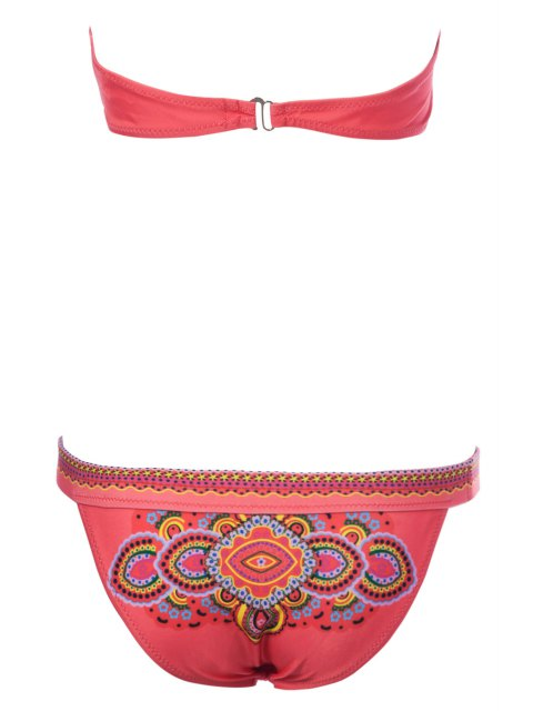 buy Ethnic Print Strapless Bikini Set - RED M Mobile