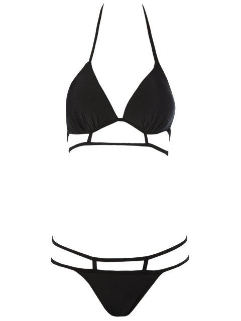 best Black Halterneck Bikini Set - BLACK L Mobile