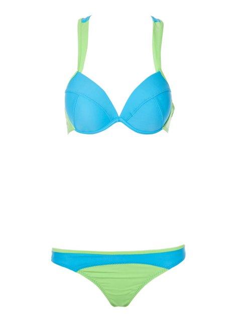 lady Color Block Splicing Straps Bikini Set - BLUE M Mobile