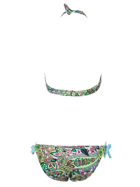 latest Print Side-Tie Bikini Set - LAKE BLUE L Mobile