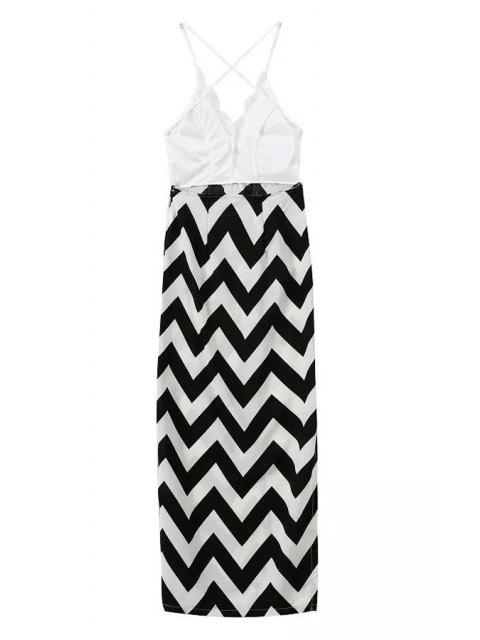 ladies Spaghetti Straps Lace Stripes Spliced Dress - WHITE AND BLACK S Mobile