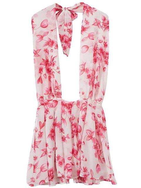 ladies Floral Halter Backless Dress - PINK XL Mobile