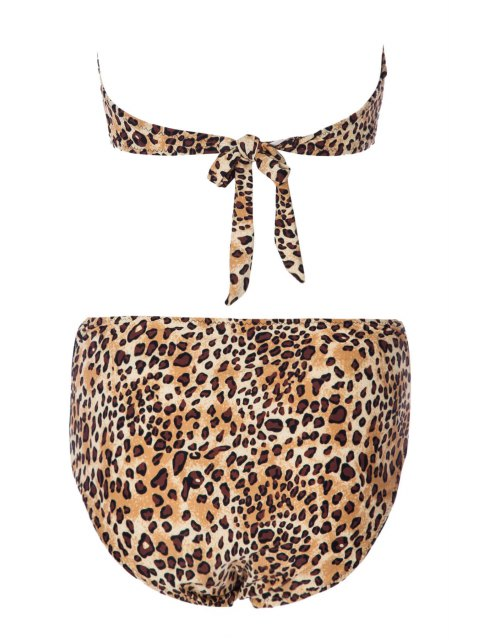 outfit Leopard Print Bowknot Bikini Set - LEOPARD L Mobile