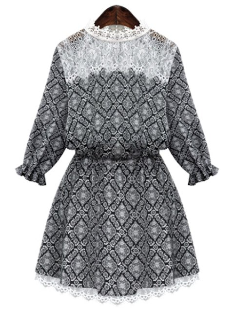 shop Round Neck Print Lace Splicing Dress - BLACK M Mobile