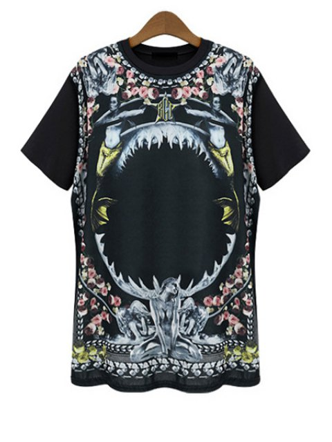 ladies Figure Floral Print Short Sleeve T-Shirt - BLACK 2XL Mobile