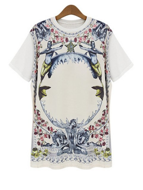 best Figure Floral Print Short Sleeve T-Shirt - WHITE M Mobile