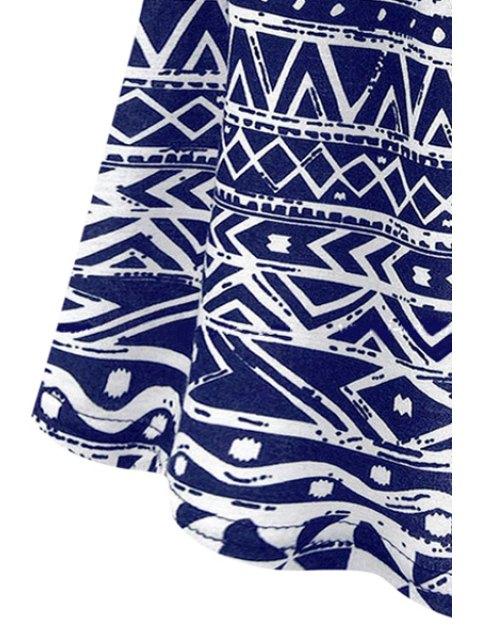 buy Blue Geometric Print Short Sleeve Dress - PURPLISH BLUE S Mobile