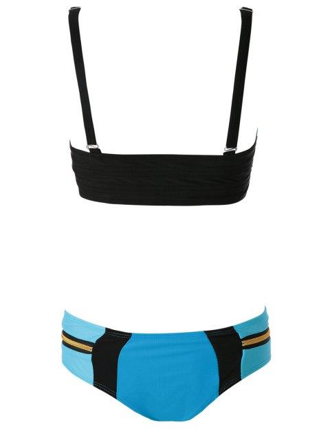 outfit Zippers Color Block Bikini Set - LAKE BLUE M Mobile