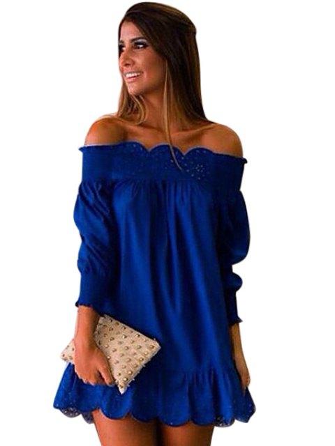 buy Slash Neck Solid Color Openwork Ruffle Dress - DEEP BLUE S Mobile