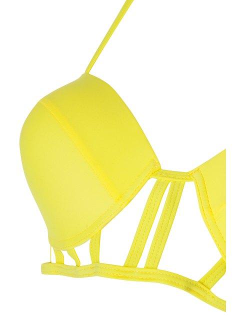 fancy Caged High Rise Cut Out Bikini Set - YELLOW XL Mobile