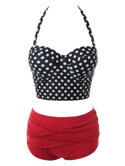 Polka Dot Bandage Bikini Set - BLACK AND WHITE AND RED XL Mobile