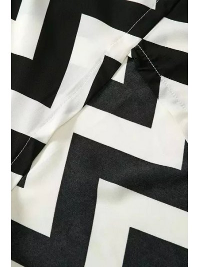 Spaghetti Straps Lace Stripes Spliced Dress - WHITE AND BLACK S Mobile