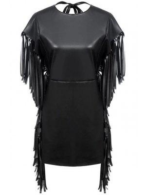 Fringe PU Leather Short Sleeve Dress
