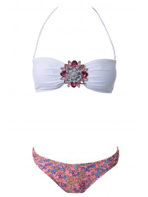 Strapless Floral Print Bikini Set - Red With White