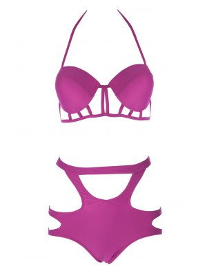 Spaghetti Straps Hollow Bikini Set - Plum