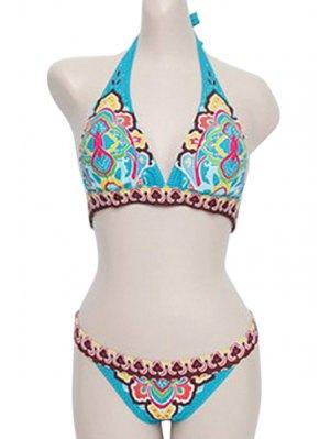 Blue Ethnic Print Halter Bikini Set - Blue