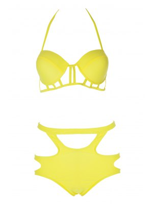 Caged High Rise Cut Out Bikini Set