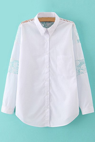 Polo Collar Solid Color Lace Splicing Long Sleeve Shirt