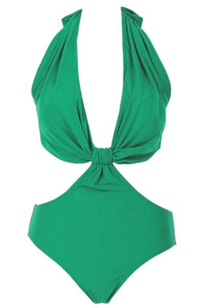 Halter Green One-Piece Swimwear