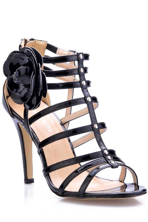 Pelle verniciata Applique Stiletto sandali tacco