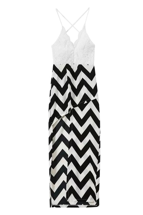 Spaghetti Straps Lace and Wavy Stripes Spliced Dress