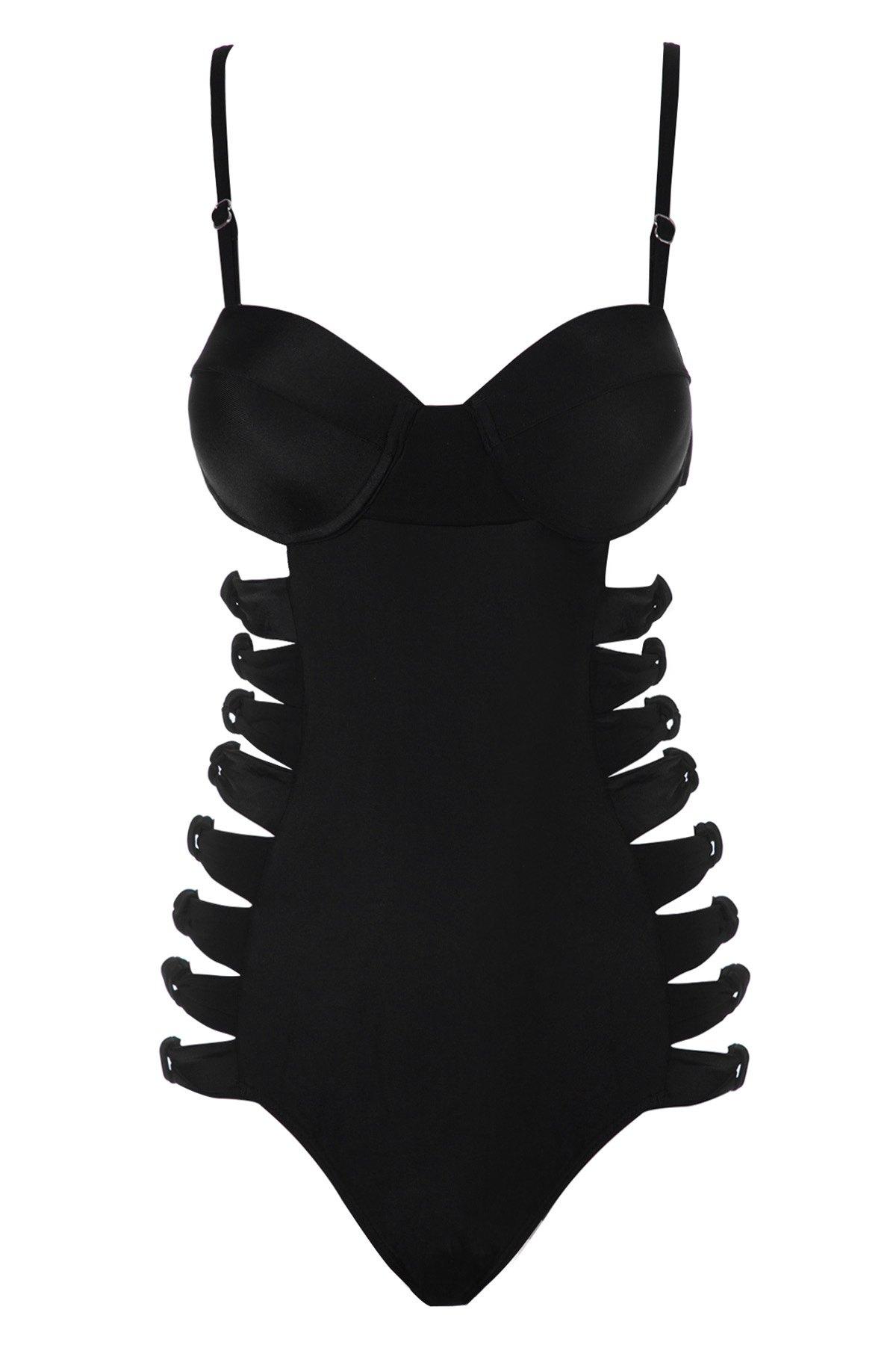 Black Spaghetti Straps One-Piece Swimwear - BLACK S