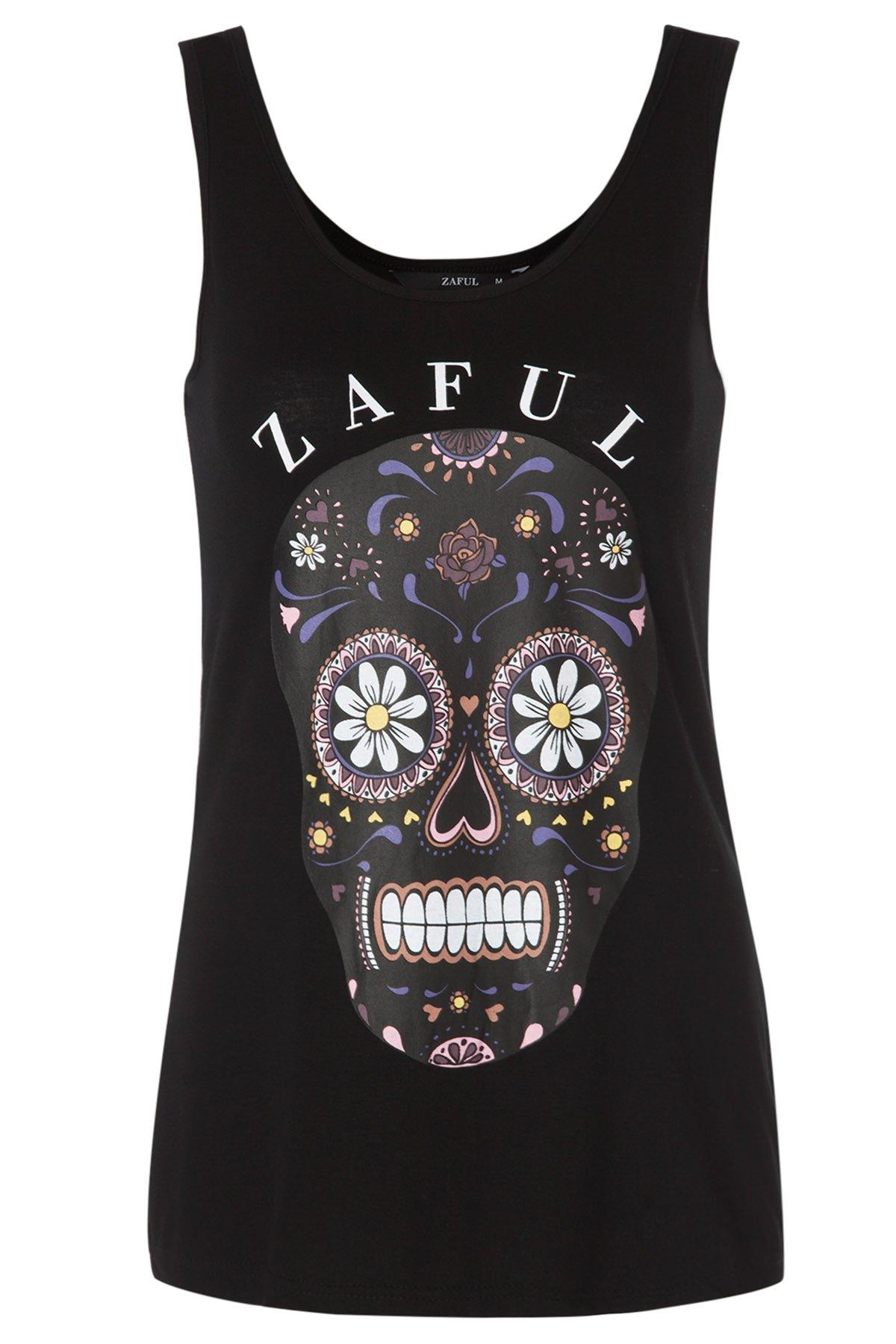 Flower Skull Print Tank Top