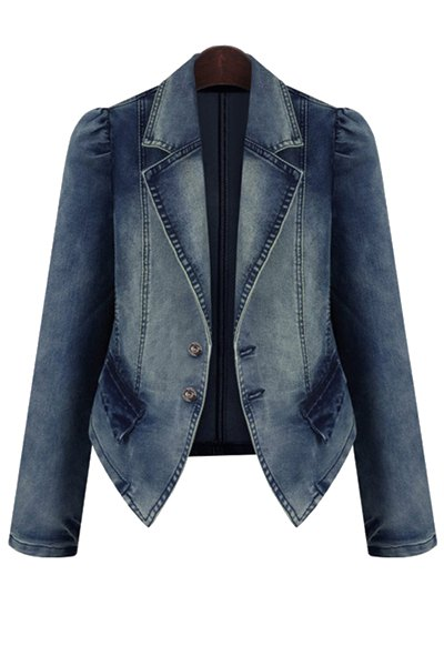 Bleach Wash Denim Long Sleeve Coat