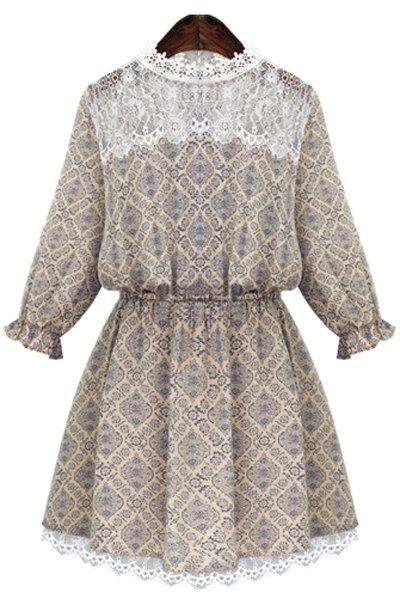Round Neck Print Lace Splicing Dress 127690105