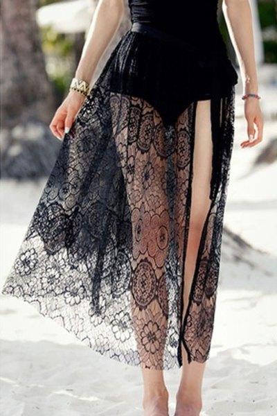 Openwork Tie-Up Side Slit Long Skirt