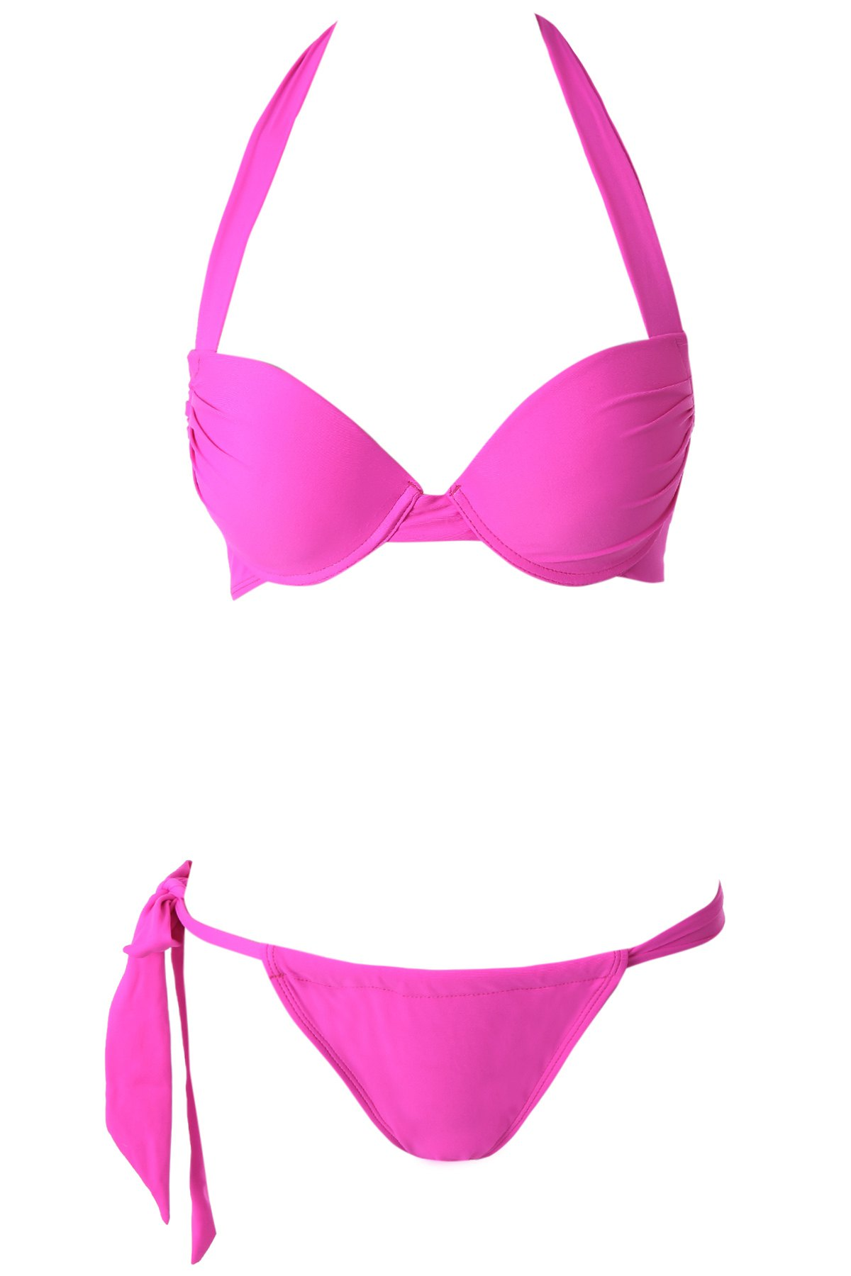Solid Color Push-Up Halter Bikini Set - PLUM S