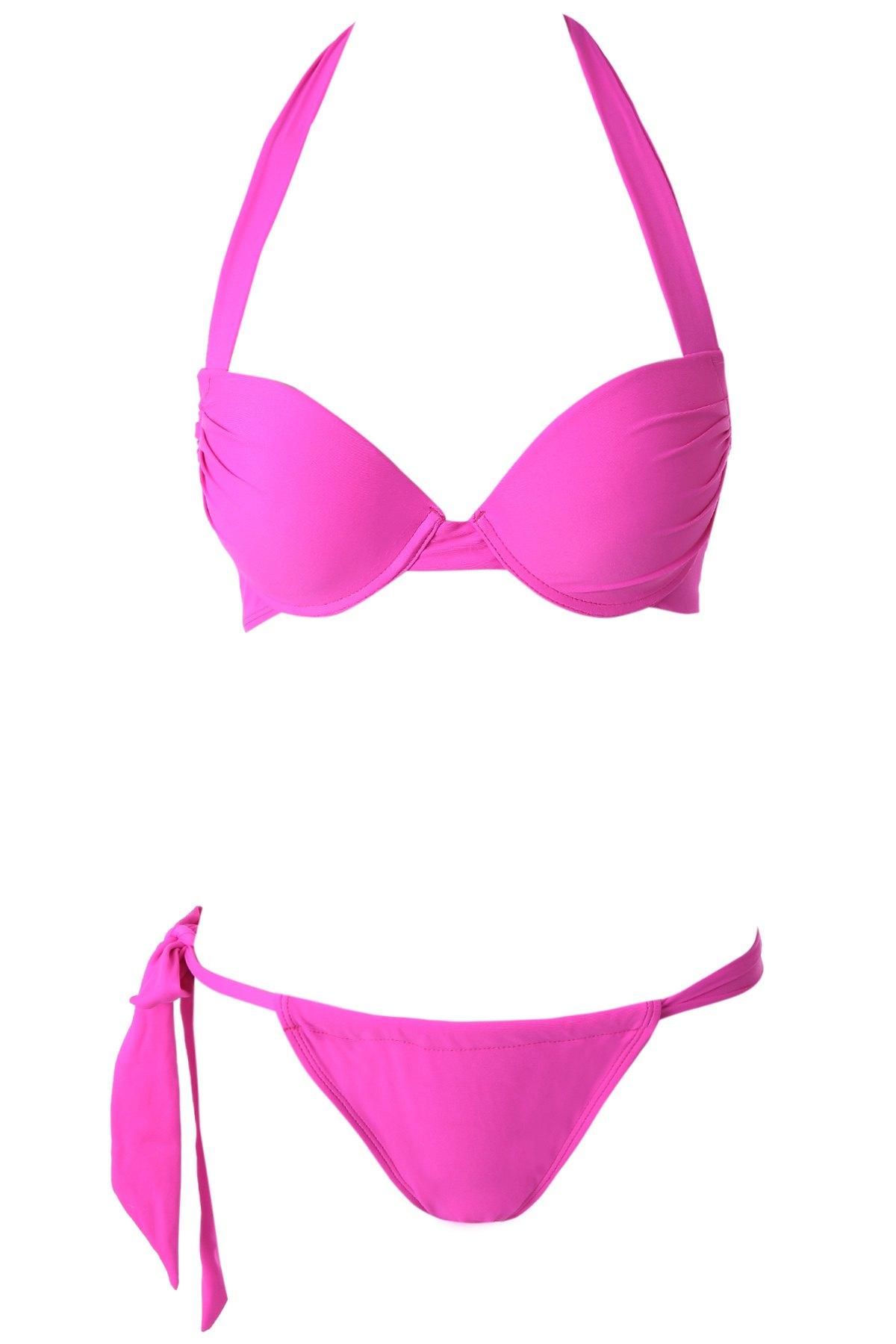 Halterneck Push-Up Solid Color Bikini Set