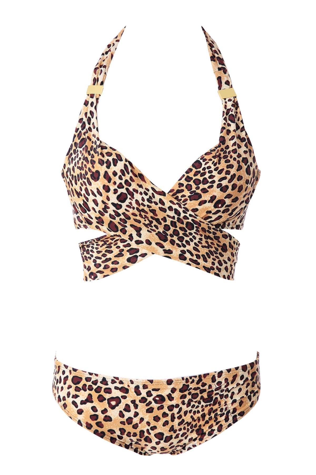 Leopard Print Cross Bikini Set - LEOPARD S